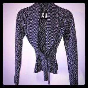 BCBGMaxAzria Cropped Sash Wool Cardigan